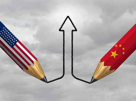 China USA success and economic trade agreement or financial treaty and industry partnership successful between Chinese and American government as a 3D illustration.