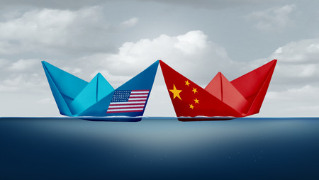 China United States economic trade war  and American tariffs as two opposing paper cargo ships as an economy taxation policy dispute over import and exports concept as a 3D illustration style. Reklamní fotografie