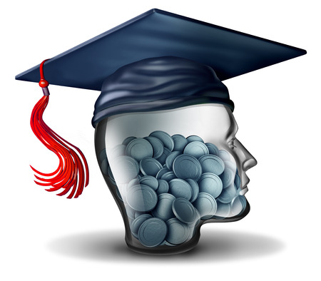 Education savings conceptas a tuition fee or learning expenses symbol or college fund debt and saving for school as a learning financial icon with 3D illustration elements.