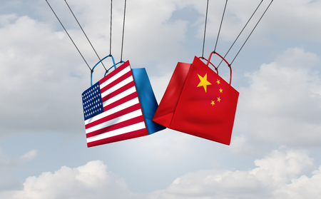 Trade war China and the United States or American tariffs as two groups of opposing consumer shopping bags as an economic  taxation dispute over import and exports concept as a 3D illustration.