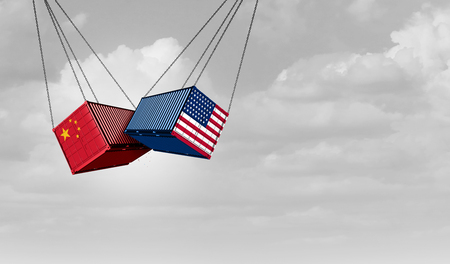 USA China trade war and American tariffs as two opposing cargo freight containers in conflict as an economic dispute over import and exports concept as a 3D illustration. Reklamní fotografie