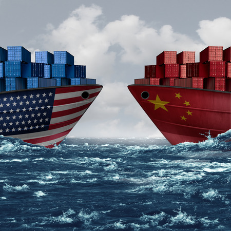 United States China trade and American tariffs as two opposing cargo ships as an economic  taxation dispute over import and exports concept as a 3D illustration.