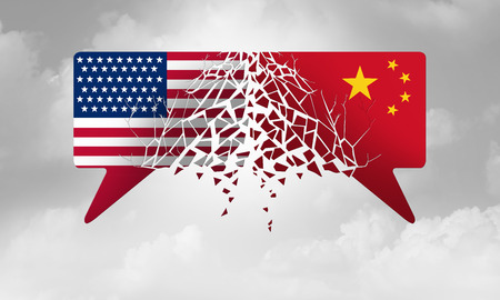 China United States crisis and USA conflict concept as an American and Chinese trade and tariff problem due to economic sanctions and tariffs deal agreement dispute in a 3D illustration style.