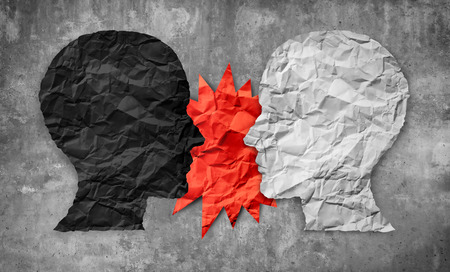 Culture war between right and wrong or conservative and liberal political clash of ideas as a 3D illustration style. Stock Photo