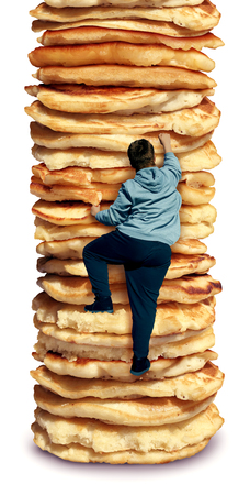 Obesity and hunger as an unhealthy diet as a fat person climbing a high stack of pancakes as a composite. Stockfoto