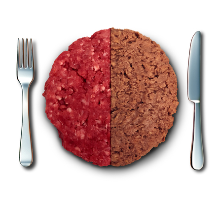 Vegan burger and meat as plant based burger and real beef hamburger dinner lifestyle choice with 3D illustration elements.