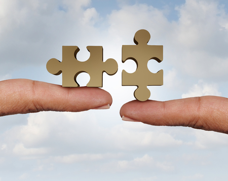 Trying to connect a jigsaw puzzle as two parts connecting together to form a whole as a cooperative business relationship with 3D illustration elements.