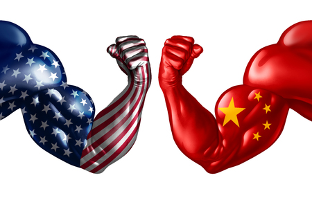 China trade war with USA or United States and American tariffs as a politics conflict with two opposing trading partners as an economic import and exports fight concept in a 3D illustration style.