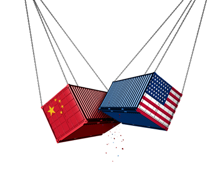 USA and China trade war and American tariffs as two opposing cargo freight containers in conflict as an economic dispute over import and exports concept as a 3D illustration isolated on a white background. Stockfoto