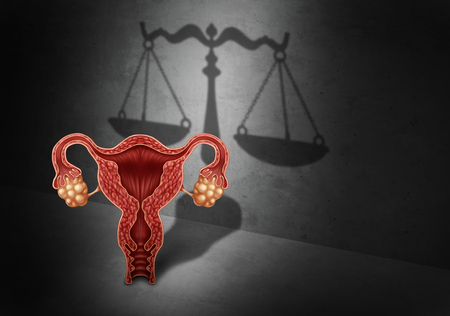 Abortion law and reproductive justice as a legal concept for reproduction rights as legislation by government to decide laws concerning pro life or choice with 3D illustration elements. Stockfoto