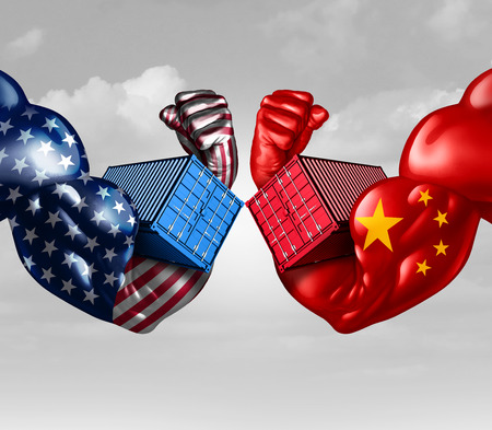 Economic trade war concept as a China dispute with USA or United States and American tariffs as a politics conflict with two opposing trading partners as import and exports fight concept with 3D illustration elements.