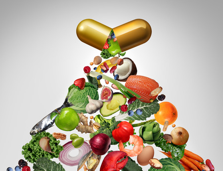 Food supplement vitamin dietary pill as a nutrient capsule with fruit vegetables nuts and beans inside as a natural medicine health treatment with 3D illustration elements.