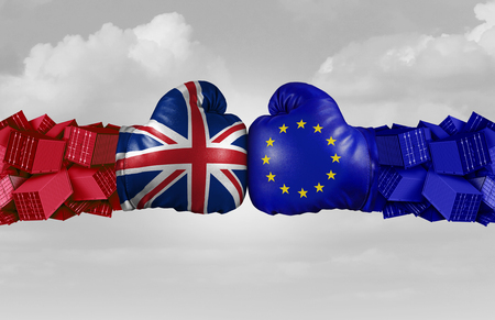 UK and EU trade challenge and conflict with two opposing trading partners as an economic import and exports brexit dispute concept between the United Kingdom and the European union with 3D illustration elements