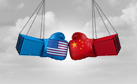 Chiny USA lub Stany Zjednoczone i amerykańskie taryfy celne są w konflikcie z dwoma przeciwnymi partnerami handlowymi jako koncepcja ekonomicznego sporu importowego i eksportowego z elementami ilustracji 3D