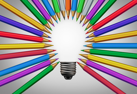 Creative content concept thinking together as a diverse group of pencils coming together joining into the shape of an inspirational light bulb as a community support metaphor as a 3D illustration. Banque d'images
