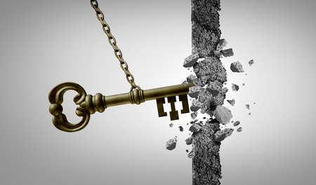 Unlock key business success concept and keyhole metaphor for unlocking opportunity with 3D illustration elements.