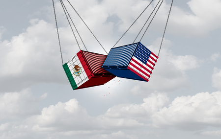 USA Mexico trade war and American tariffs as two opposing cargo freight containers in conflict as an economic dispute over import and export taxes concept as a 3D illustration.
