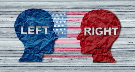 American election concept as a United States politics election idea as the left and right wing representing conservative and liberal voting campaign in a 3D illustration style. Stock Photo