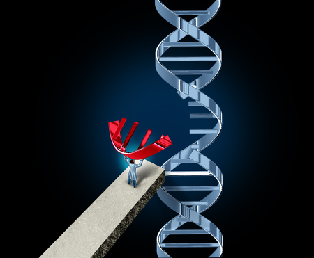 Genome editing and genetic engineering or gene manipulation medical concept as a DNA molecule modified by a doctor or researcher as a CRISPR symbol for biotechnology therapy with 3D illustration elements.
