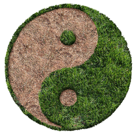Lawn care symbol with green and brown patch and drought area shaped as a ying and yang symbol as a landscaping  icon composite image. Stockfoto