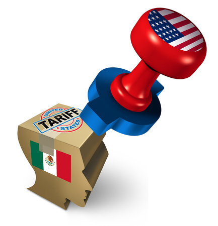 Mexico tariffs by the United States due to illegal immigration as a political an economic dispute over import and export taxes and immigrants or refugee concept as a 3D illustration.