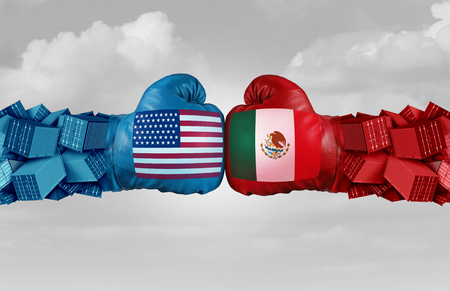 Mexico USA or United States trade and American tariffs on the Mexican economy conflict with two opposing trading partners as an economic import and exports dispute concept with 3D illustration elements Stock Illustration - 124773110