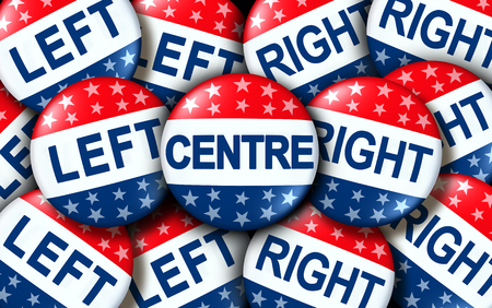 Centre politics as left and right wing vote badges as a united states election or voting concept as a symbol with conservative and liberal political campaign as a 3D render.