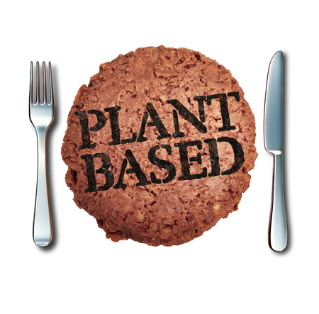 Plant based meat alternative as a vegan burger and fake animal protein representing a vegetarian hamburger  branded with cooked text with 3D illustration elements.
