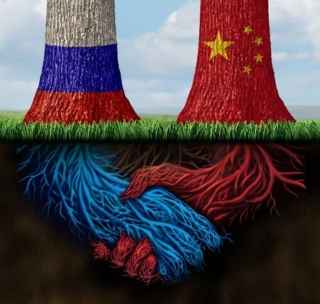 China Russia trade agreement and Russian deal or Chinese negotiation as an economic treaty and global financial solution over import and exports concept with 3D illustration elements.