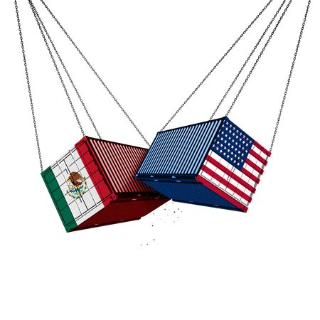 Mexico US trade war and American tariffs as two opposing cargo freight containers in conflict as an economic dispute over import and export taxes concept as a 3D illustration.