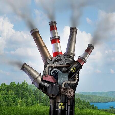 Pericolo di cambiamento climatico e concetto di condizioni meteorologiche estreme con una mano industriale sporca inquinata che distrugge il fragile paesaggio naturale verde con elementi illustrativi 3D.