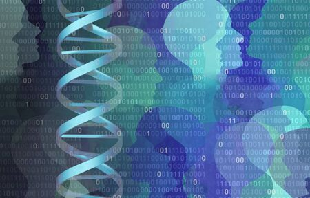 DNA binary code genome science concept as a microbiology or biochemistry computer technology with 3D illustration elements.