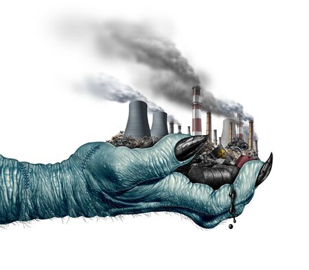 Environmental danger concept and climate change global environment risk as a monster hand holding polluting industry and toxic waste with 3D illustration elements.