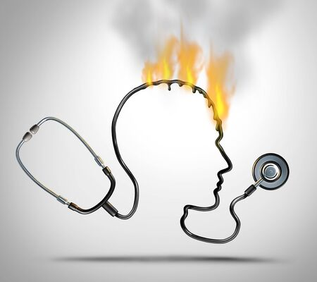 Doctor burnout and medical stress or physician worry as a stethoscope shaped as a head in a meltdown representing hospital worker psychology problem as a 3D render.