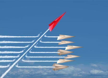 Cambia el concepto de negocio o la idea de cambio político y el símbolo de innovación disruptiva y sé un pensador independiente con nuevas ideas de la industria como un individuo rompiendo un grupo en un estilo de ilustración 3D
