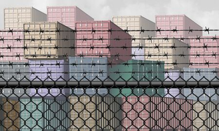 Closed economy and barrier to trade and economic restrictions as a fence restricting import and export commerce and global trading business industry with a shipping port concept as a 3D illustration elements.