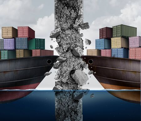 Barrier to trade and removing economic restrictions as two cargo ships breaking a cement wall as an import and export business industry concept as a 3D illustration elements.