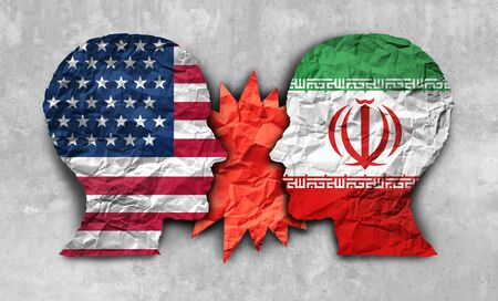 Iran USA conflict and United States middle east crisis concept as an American and Iranian security problem due to economic sanctions and nuclear deal dispute in a 3D illustration style.