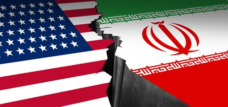Iran US showdown and middle east clash as a USA or United States crisis in the Persian gulf concept as an American and Iranian security problem due to economic sanctions and nuclear deal as a 3D illus 写真素材