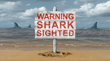 Shark warning sign and beware of sharks signage on a beach with 3D illustration elements.