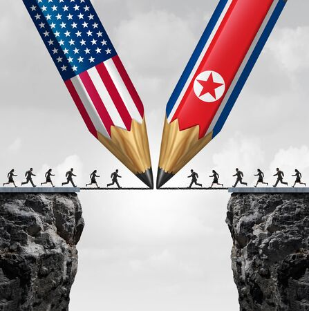 North Korea US summit meeting as diplomatic relations between North Korean and American leadership nuclear negotiations with 3D illustration elements. Stock Photo