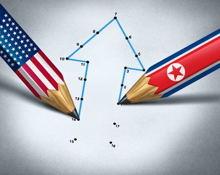 North Korea United States summit meeting as diplomatic relations between North Korean and American leadership nuclear negotiations with 3D illustration elements.