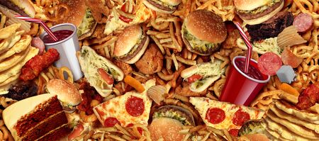 Fast food concept with greasy fried restaurant take out as onion rings burger and hot dogs with fried chicken french fries and pizza as a symbol of diet temptation and unhealthy nutrition with 3D illustration elements. Stok Fotoğraf