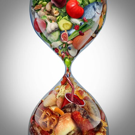 Decline in nutritional eating habits as a diet or dieting symbol with healthy fresh food  turning to unhealthy greasy fast food in a sand hourglass with 3D elements. 스톡 콘텐츠