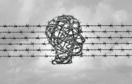 Immigration crisis border security concept as a detention migrant holding facility symbol with barbed wire shaped as a human head in a 3D illustration style. Stockfoto