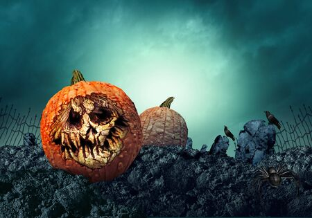 Halloween pumpkin grave and creepy zombie gourd in a haunted spooky graveyard as a grimace of horror on a scary jack o lantern with 3D illustration elements.
