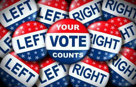 Your vote counts election badge as a United States democratic right for voting concept between the right and the left as a presidential vote or congress as a 3D illustration. 版權商用圖片