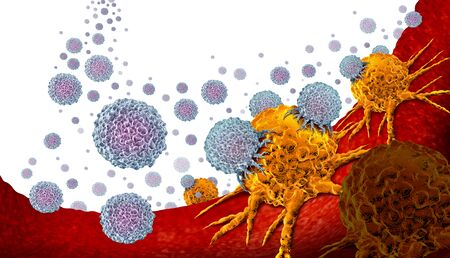 Oncology medicine and cancer treatment concept as a tumor or tumour being treated with white blood cells attacking the disease as an immunotherapy 3D illustration.
