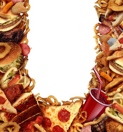 Junk food background frame concept with greasy fried restaurant take out as onion rings burger and hot dogs with pizza as a symbol of diet temptation and unhealthy nutrition with 3D illustration elements.