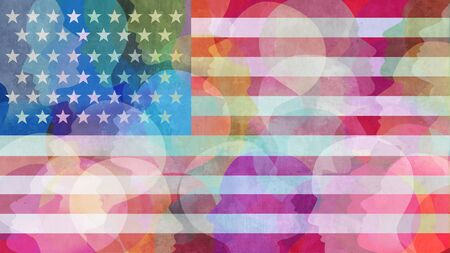United States race diversity or ethnicity and people concept on an american flag background in a 3D illustration style.